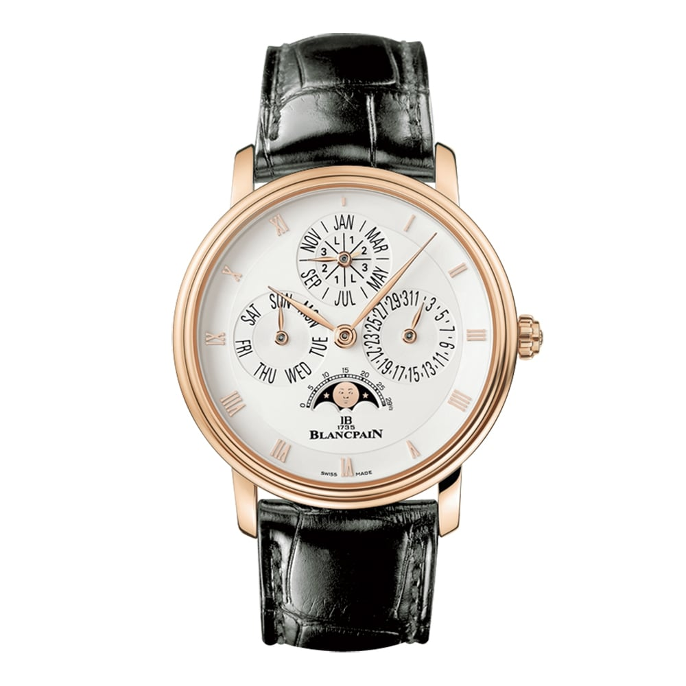 Đồng hồ đeo tay BLANCPAIN 18K ROSE GOLD VILLERET QUANTIEME PERPETUAL AUTOMATIC SILVER DIAL STRAP WATCH