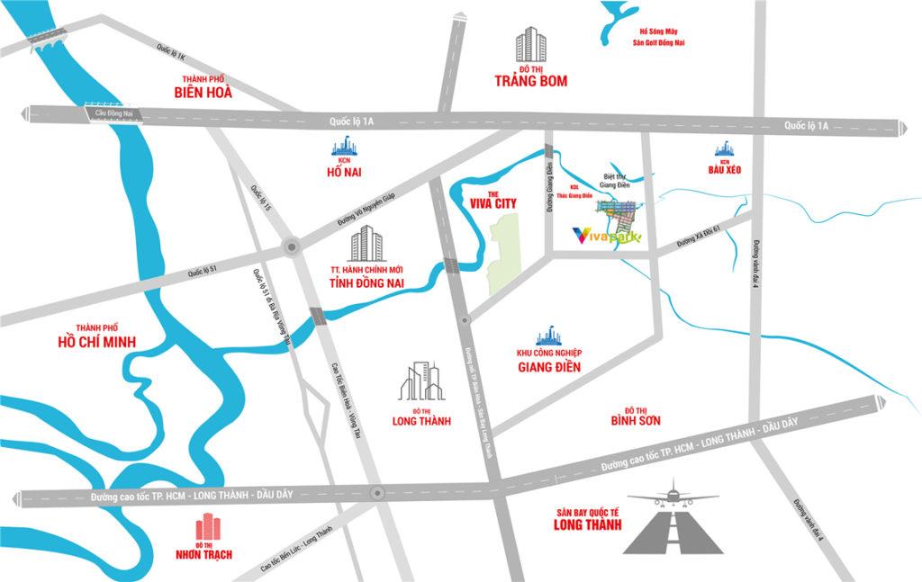 Vị trí dự án Viva Park Giang Điền